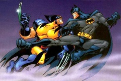 Batman narrowly missies Wolverine with a well formed Yoko tobi geri.