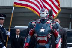"A shot of the Iron Patriot from upcoming Ironman 3. Other shots show James Rupert ""Rhodey"" Rhodes inside the armour. Surely he should be War Machine."