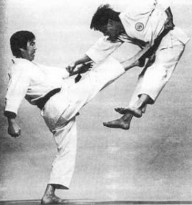 This is how Sensei Kanazawa applies a Mae Geri. EEK.
