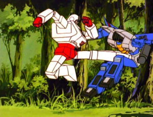 See! Ratchet performs a perfect tobi mae geri against Thundercracker.