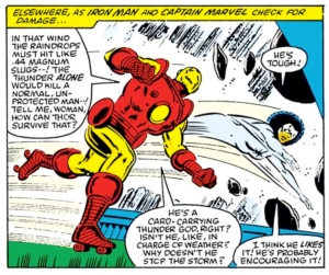 Why Marvel? Why? Is it an 80's thing to put Iron Man on roller skates?